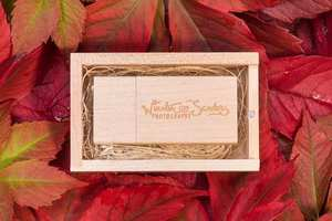 wedding photography wooden memory stick in wooden presentation box