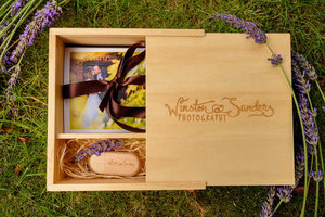 Wooden USB stick, box and prints