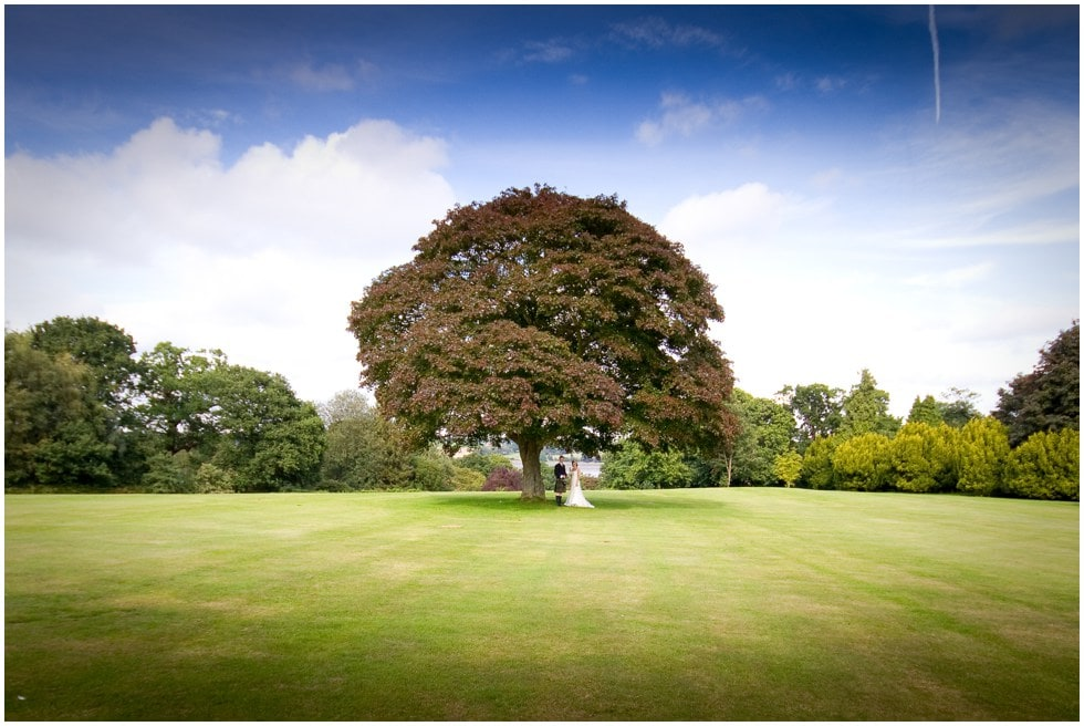 Woolverstone Hall Wedding Photographer shot featuring Jem and Duncan under a magnificent Oak tree