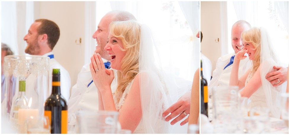 Laughter during wedding speeches at Linden House