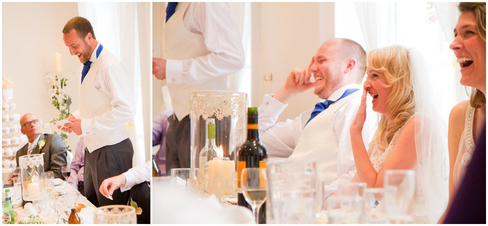 Bride laughingBest man speech Linden House Hammersmith Wedding