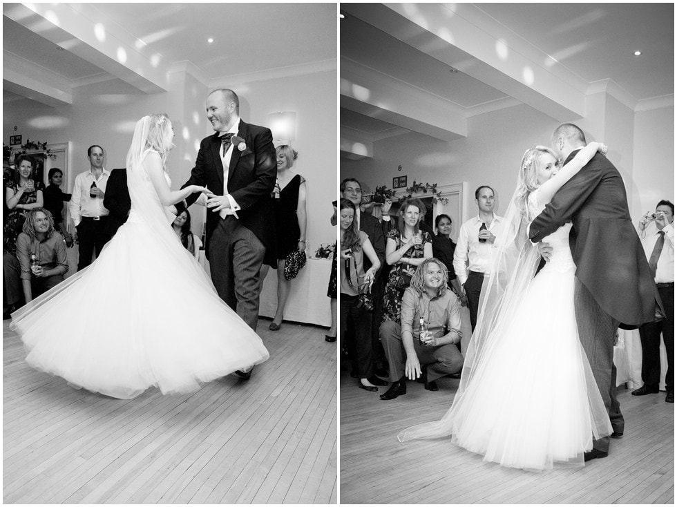 The First dance black and white Linden House Hammersmith London Wedding