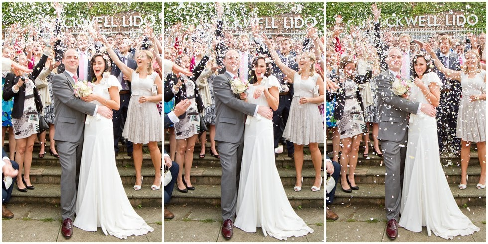 A sequence of confetti throwing shots at The Lido Herne Hill London Wedding