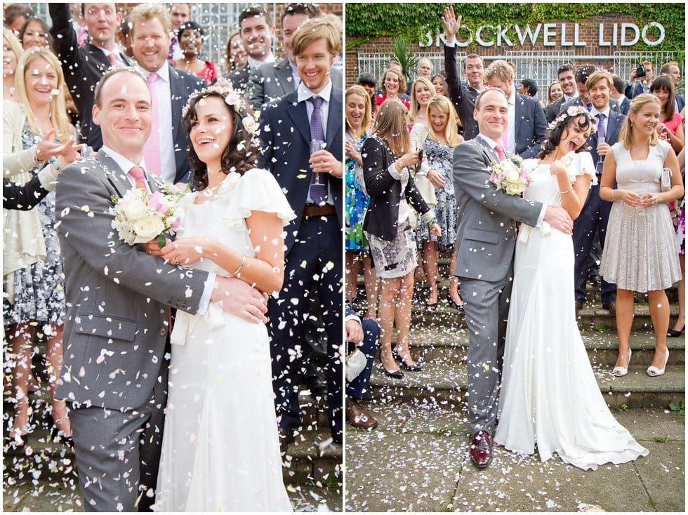 Confetti throwing at The Lido Herne Hill Wedding Photography