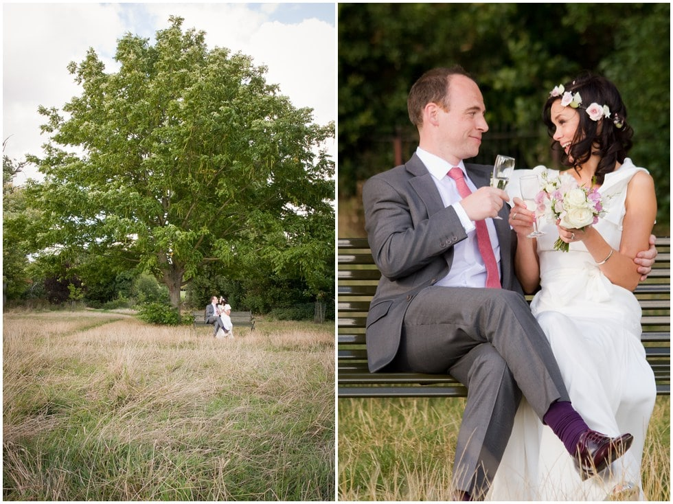 The Lido Herne Hill Wedding Photography shot of couple on Brockwell Park bench