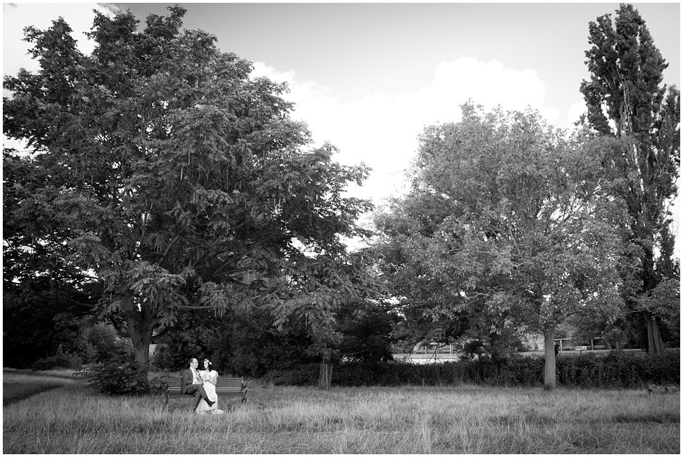 Black and white wide angle shot of Brockwell Park and newly weds Wedding Photography