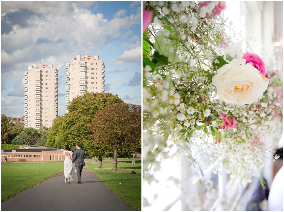 Large london tower block form the backdrop at this london wedding