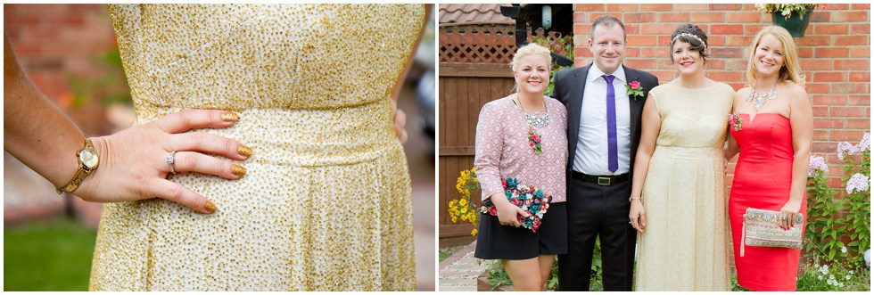 an untraditional wedding dress of gold sequins