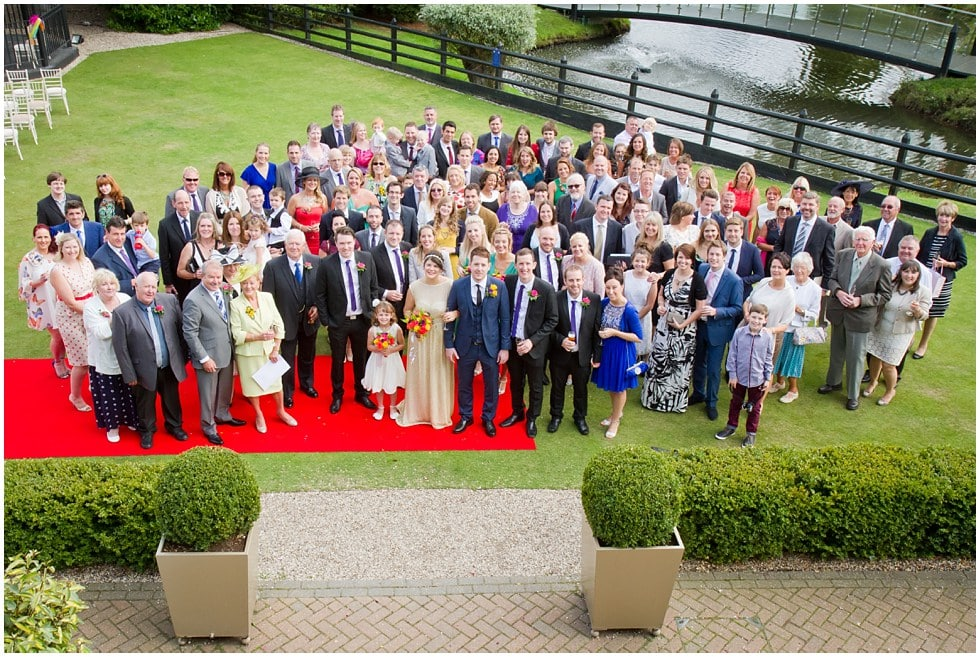 whole wedding party group photograph the three rivers golf and country club cold norton