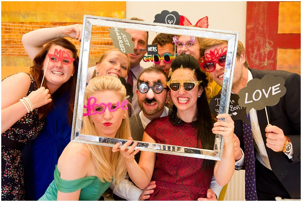 photobooth fun shots at the three rivers golf and country club cold norton wedding photography