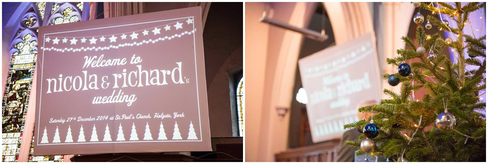 A christmas wedding St Paul's Church York