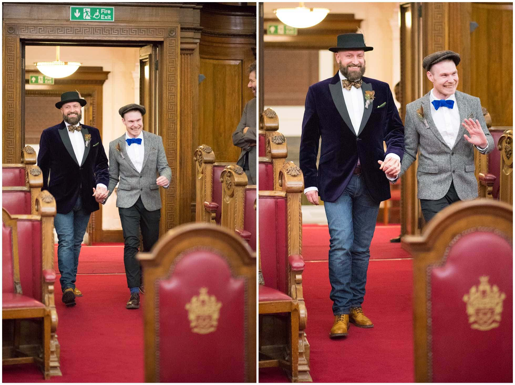 entering the islington town hall wedding room