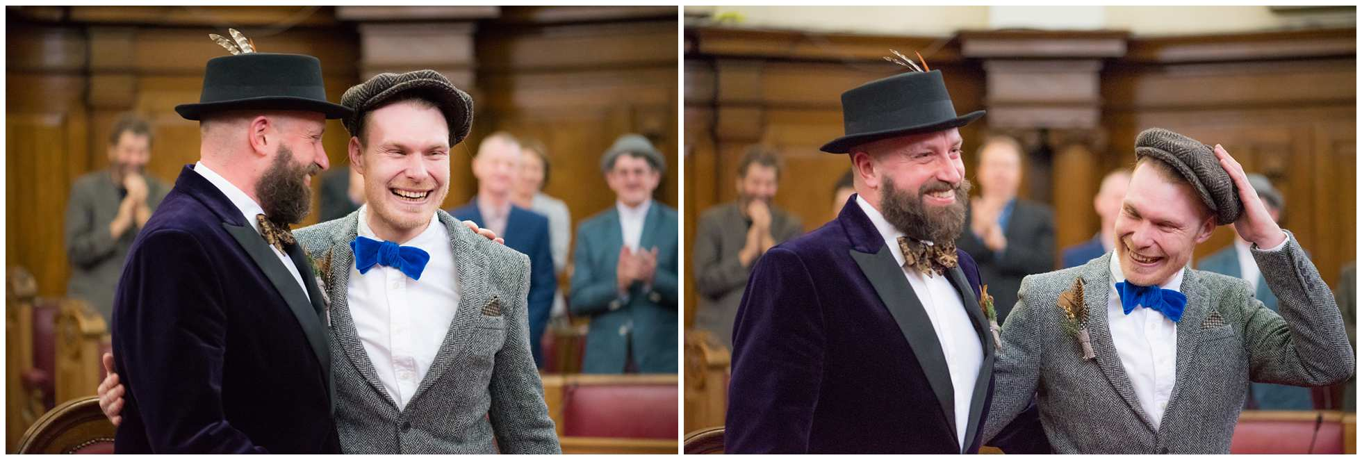 two grooms at islington town hall very much in love