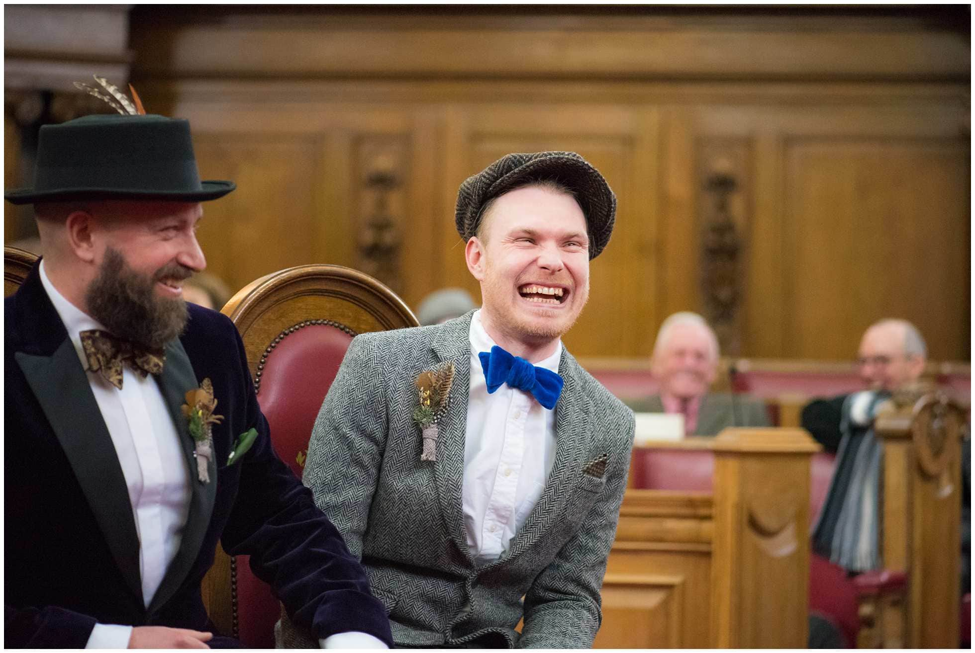 gay wedding photography islington town hall very happy groom