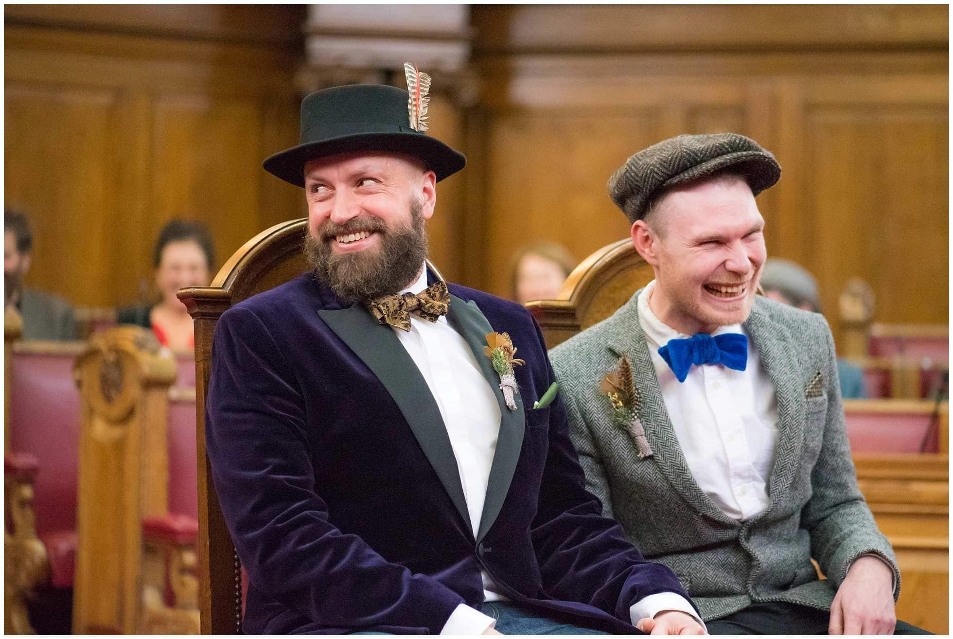 Happy couple gay wedding photography islington town hall