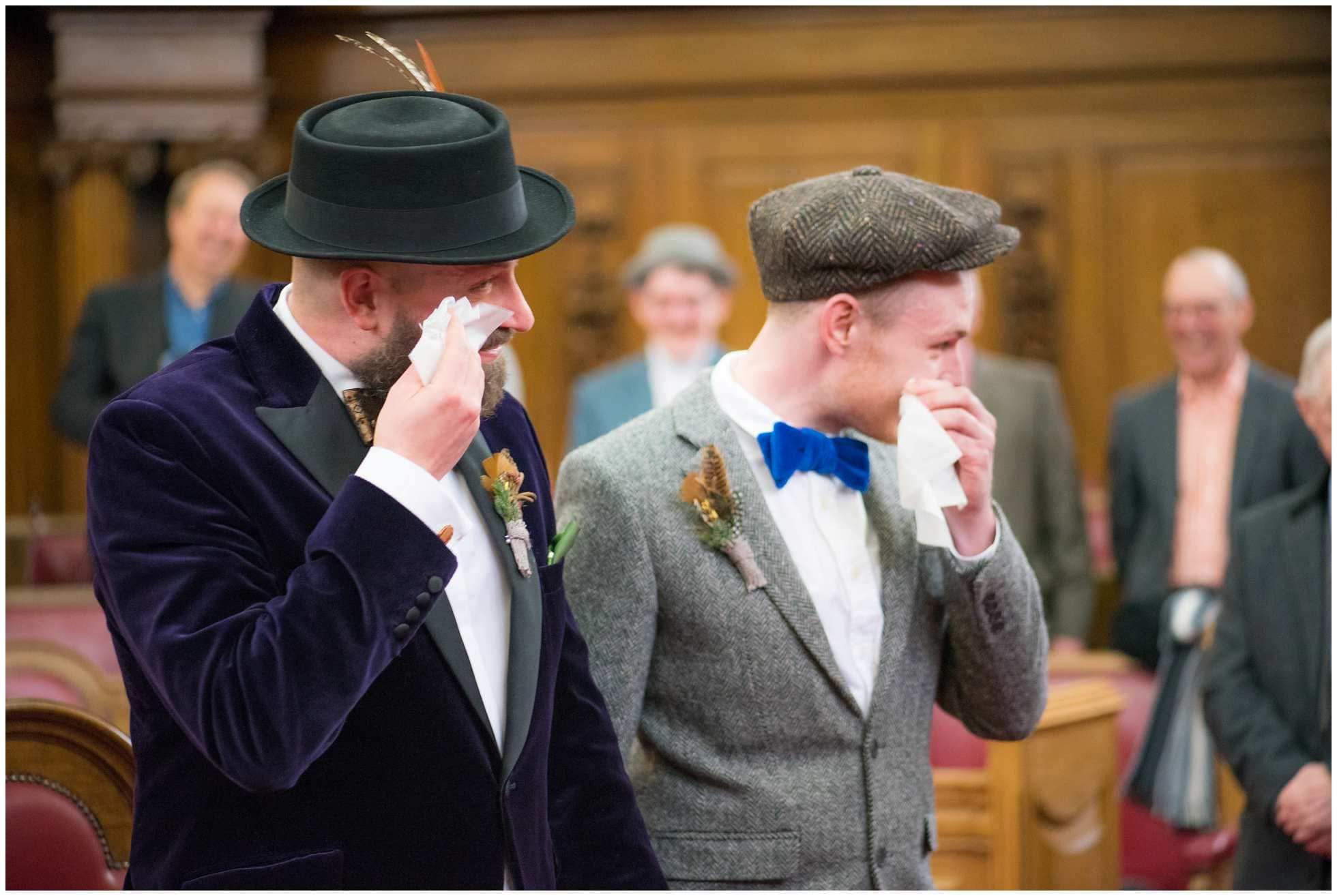 Tears at a gay wedding photography islington town hall