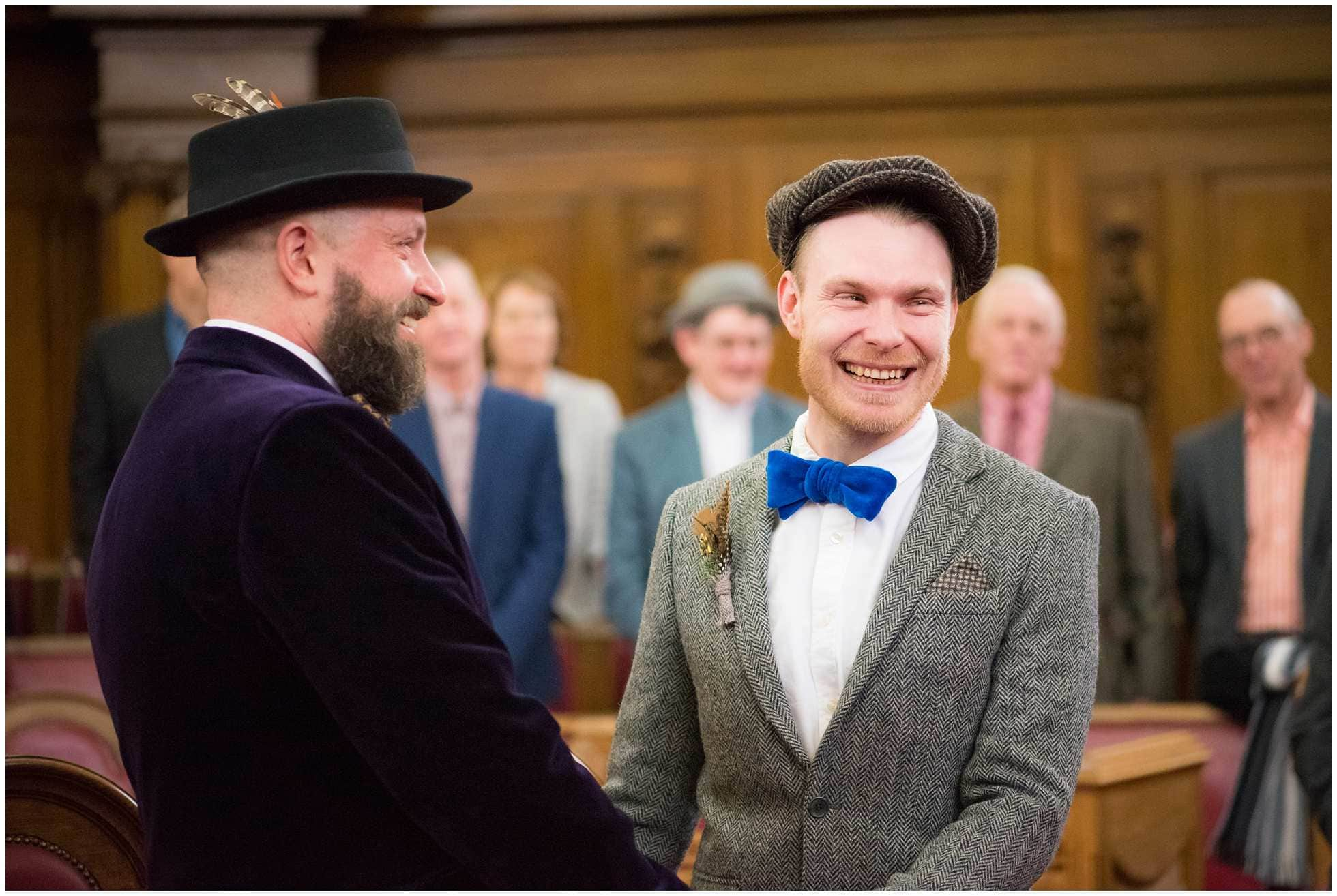A happy groom with his happy groom