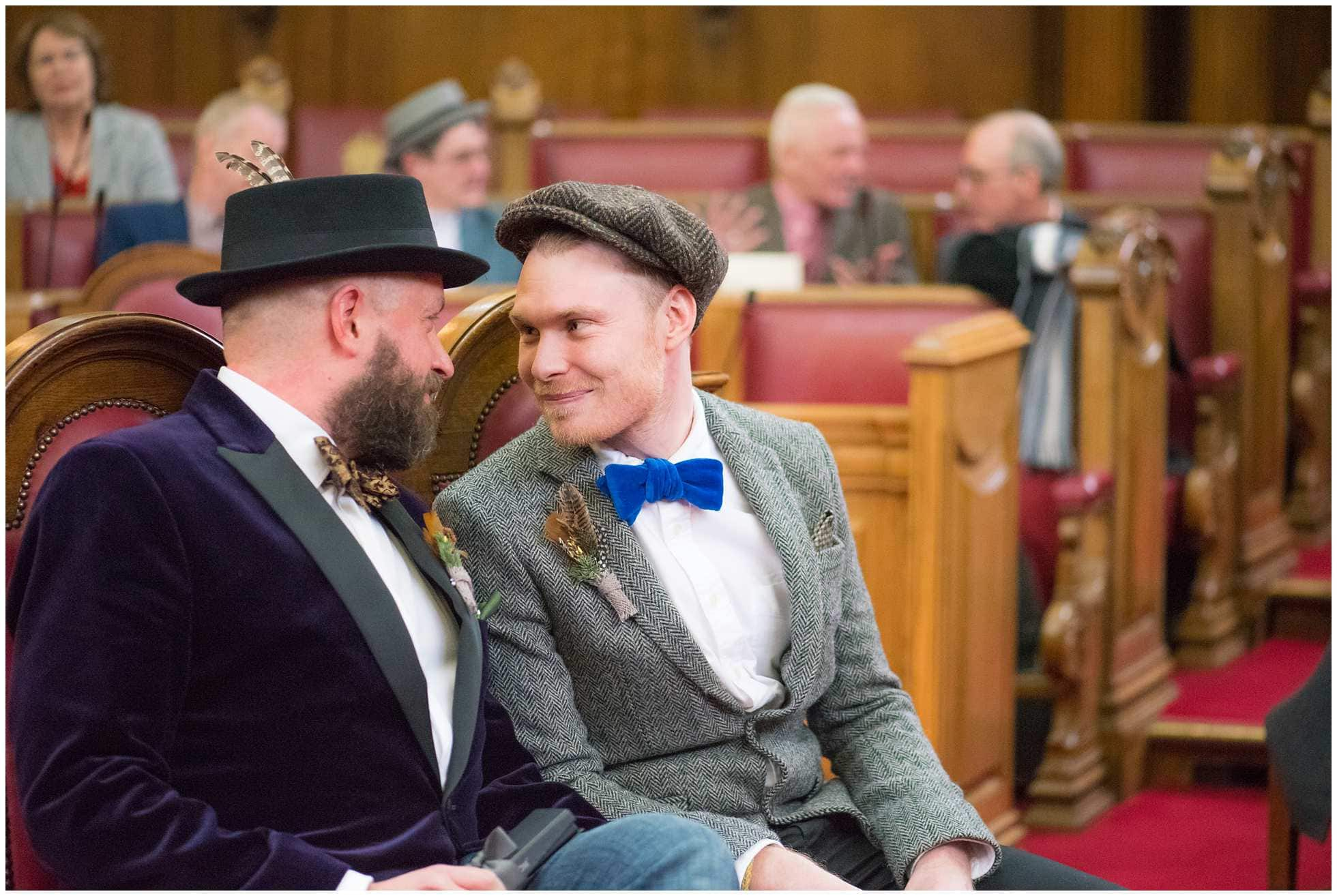 excited gay couple getting married