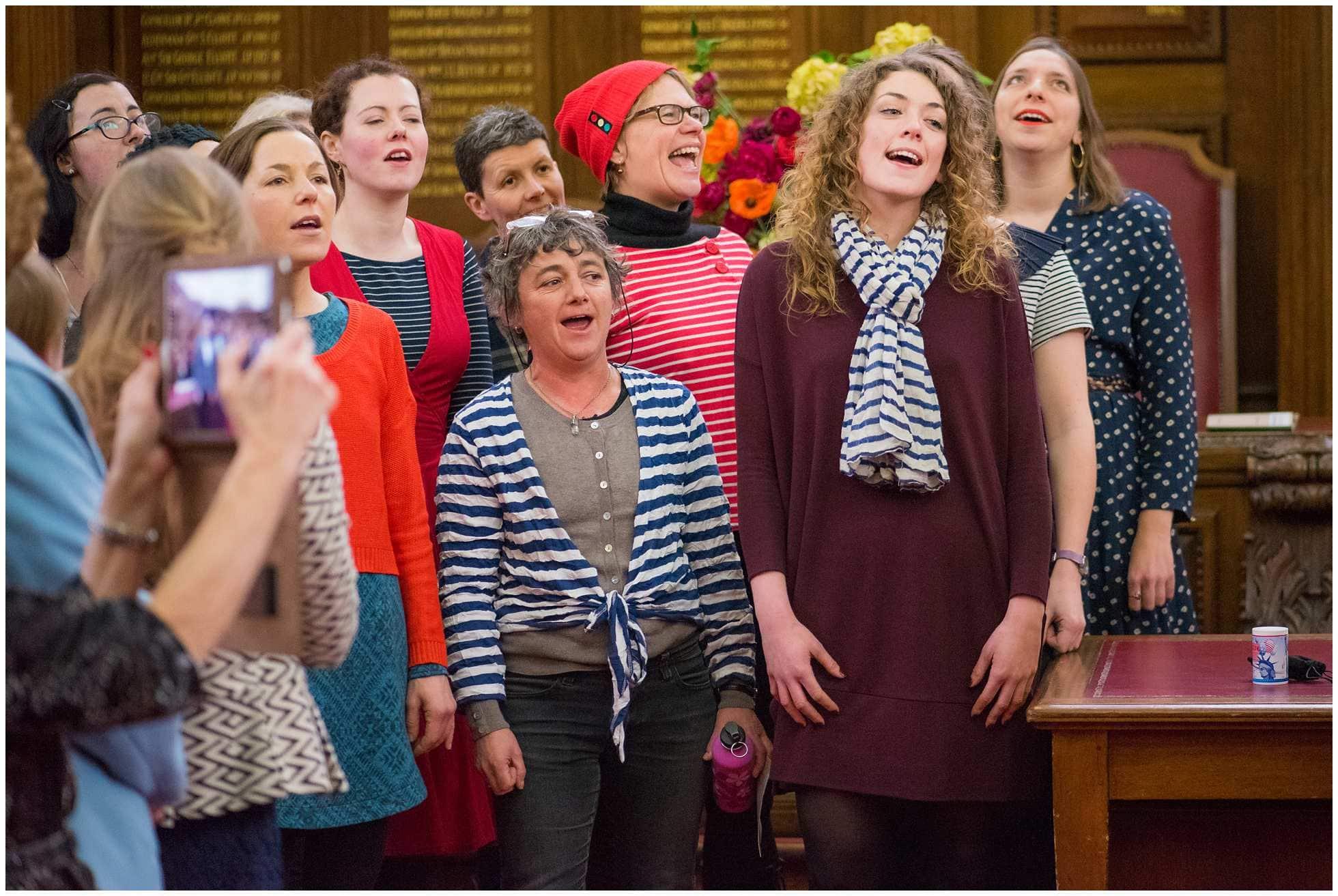 Sea Shanty choir singing at a wedding at islington town hall