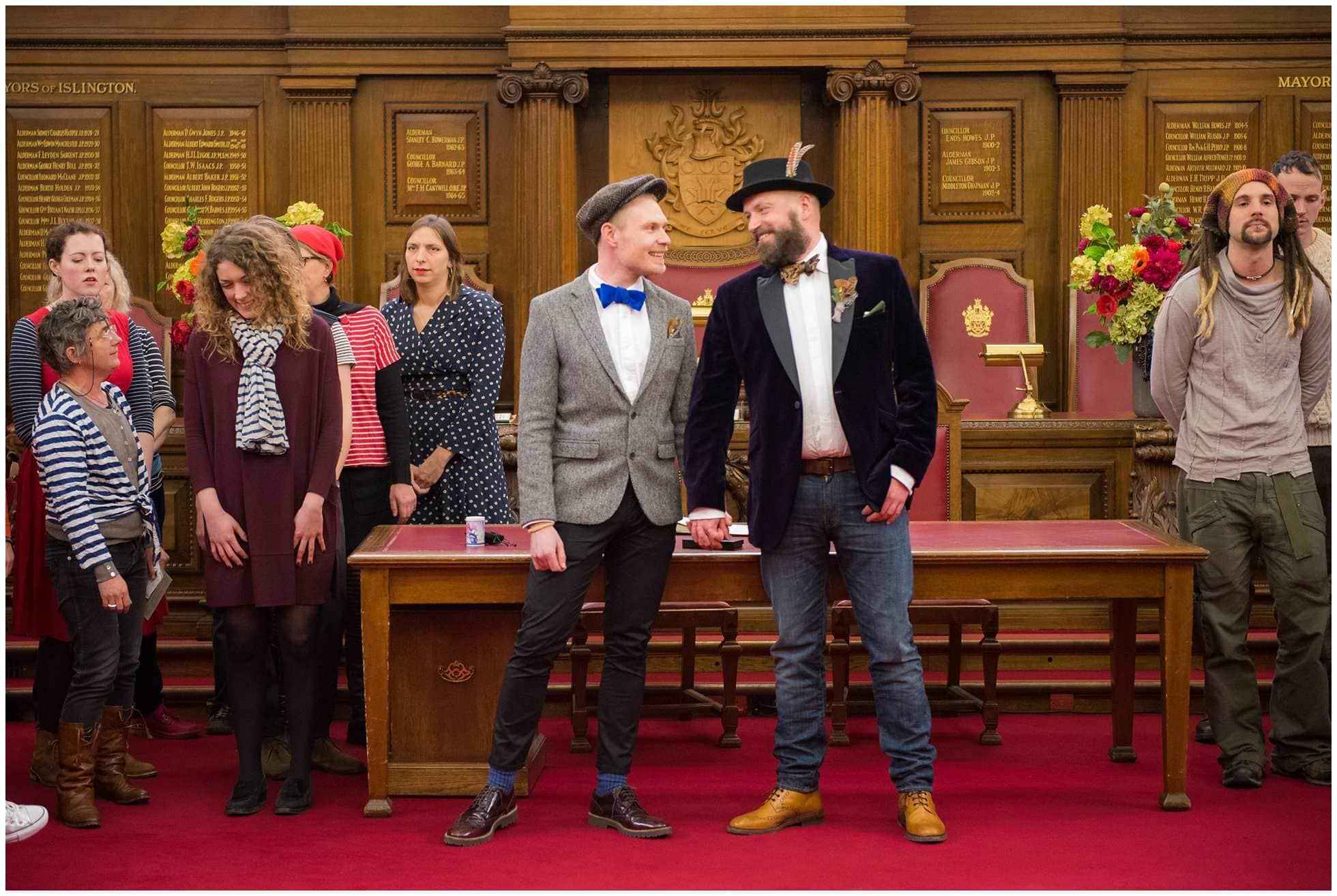 The happy couple gay wedding photography islington town hall