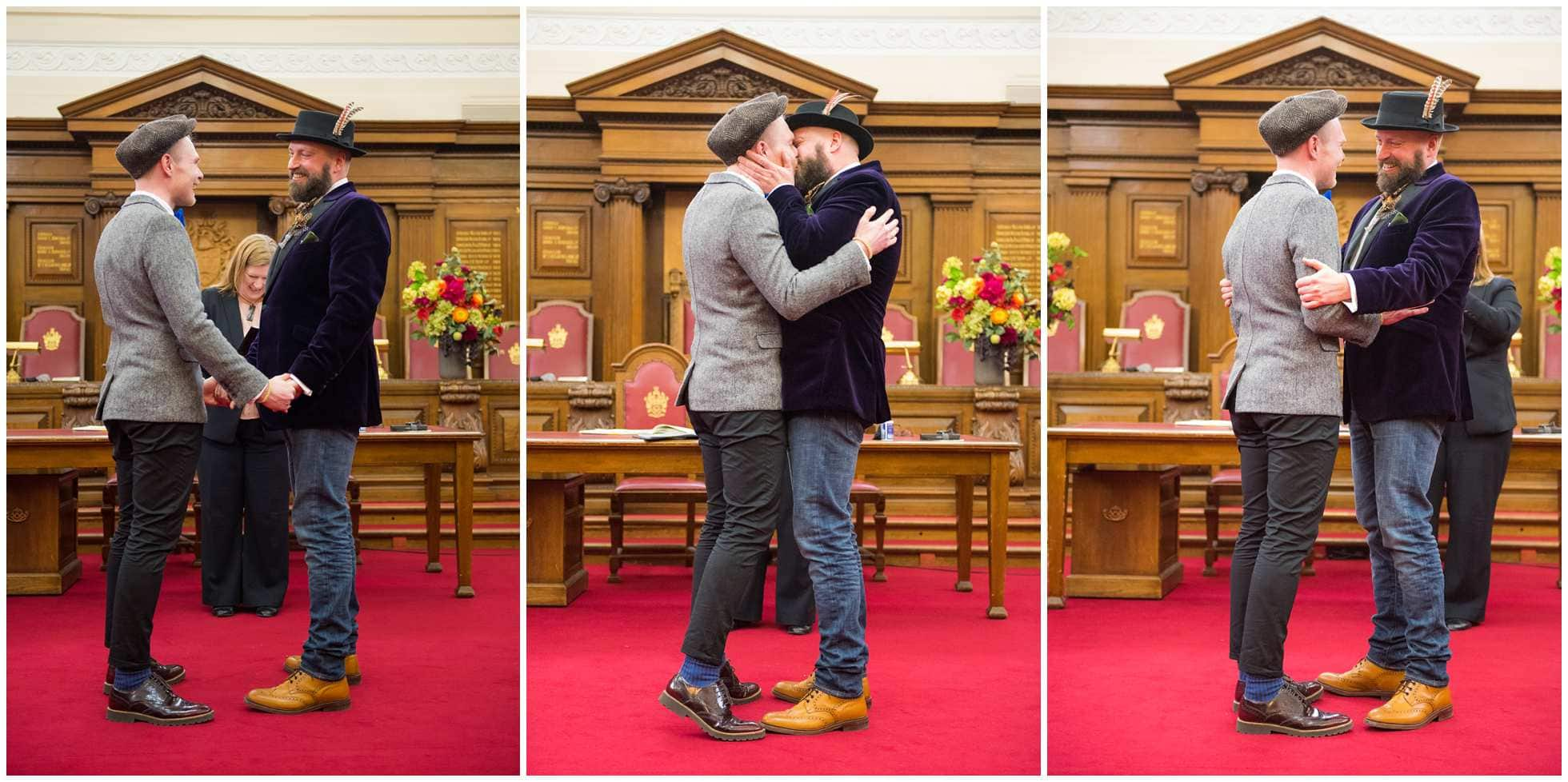 The kiss gay wedding photography islington town hall