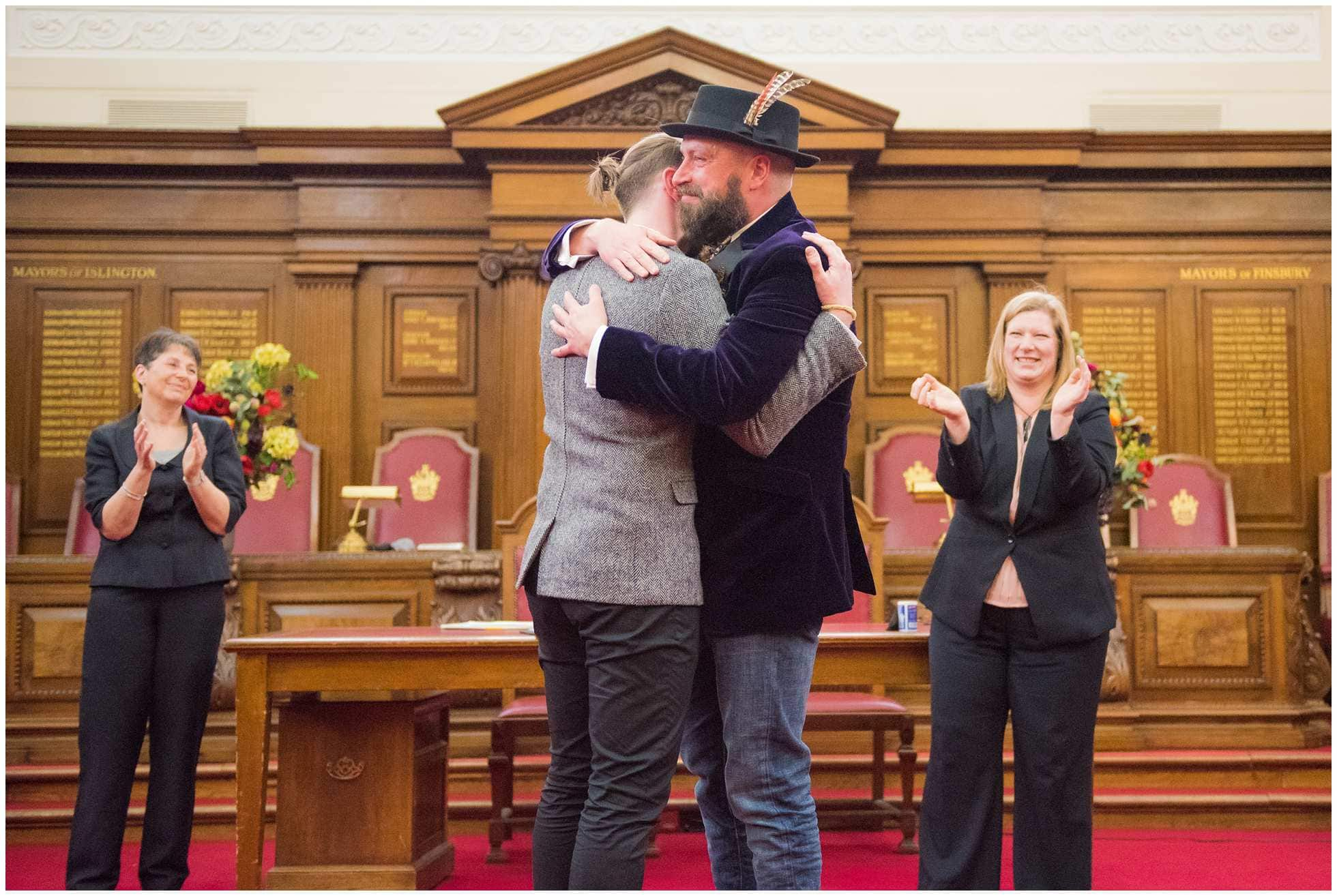 just married gay wedding photography islington town hall