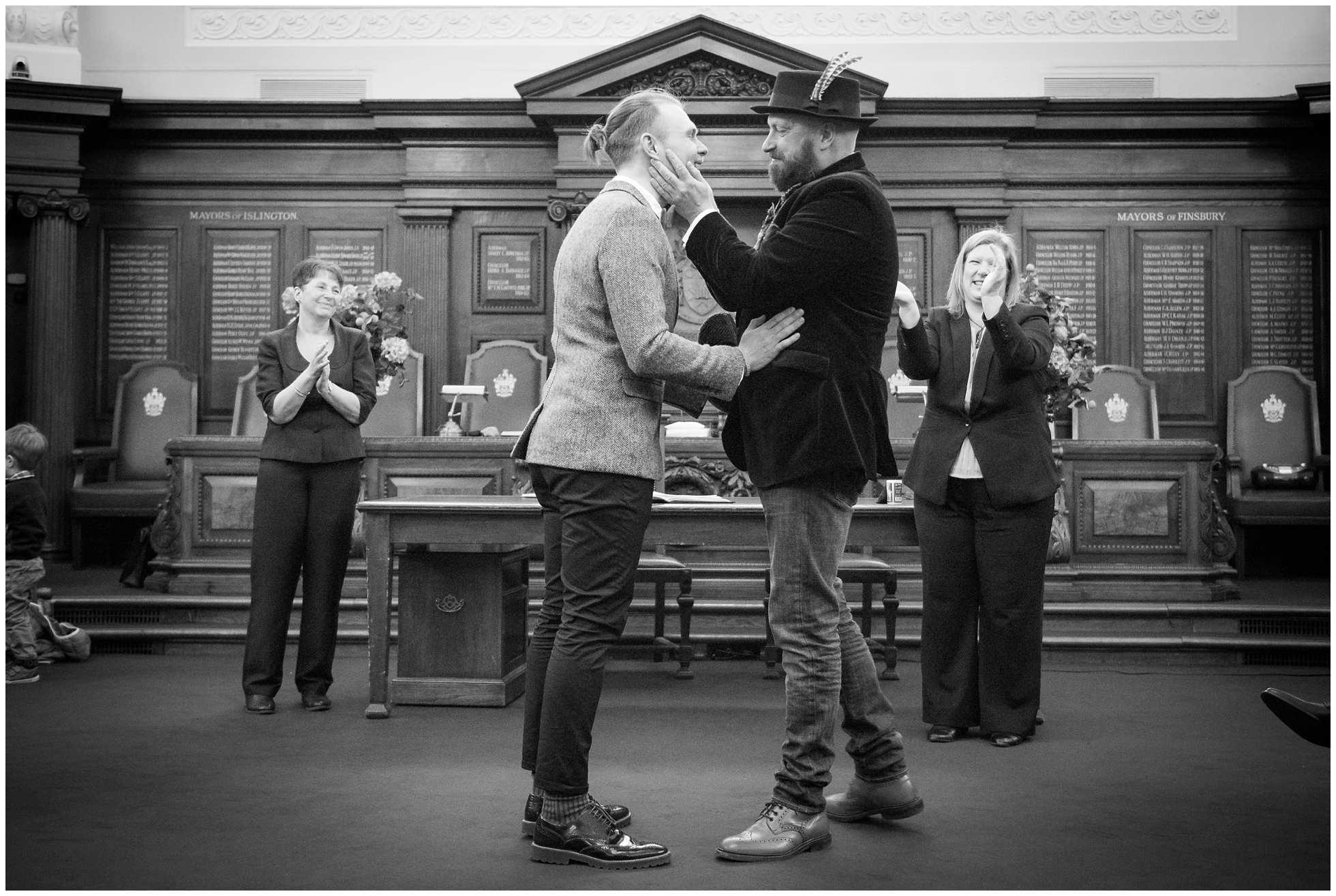Black and white gay wedding photography islington town hall