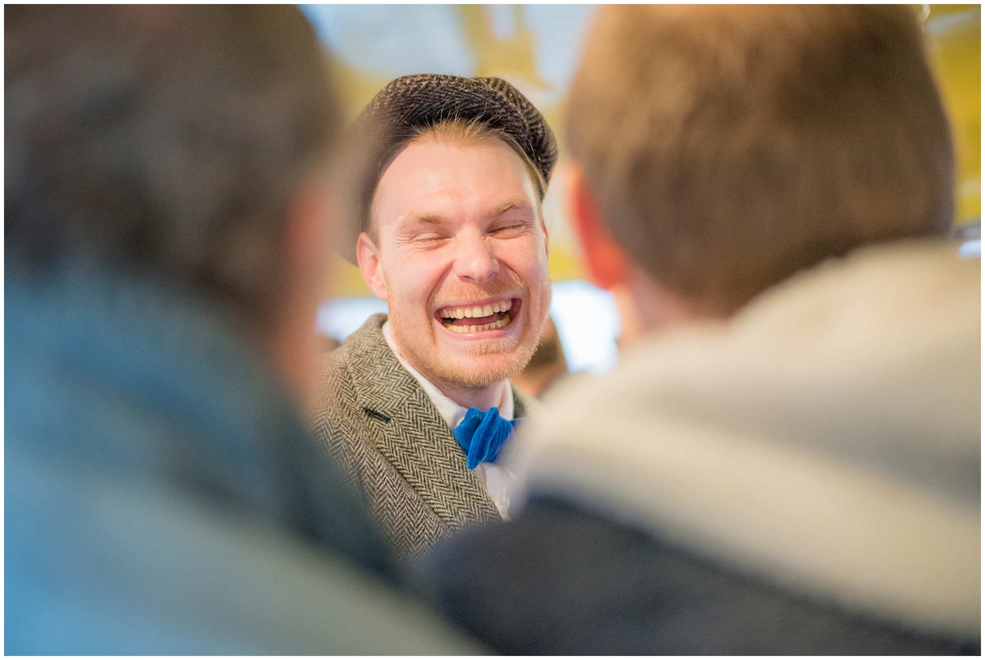 Laughing Chris on Routemaster bus london wedding photography