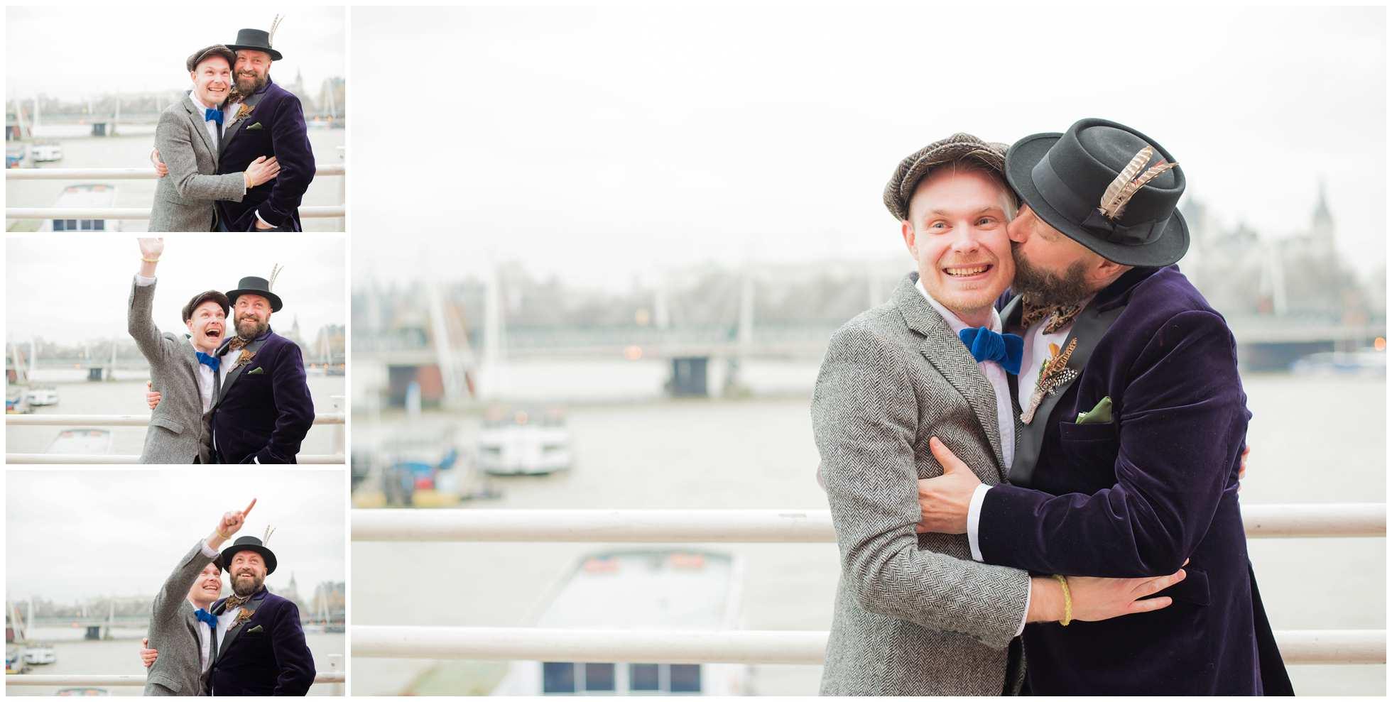 Gay couple on london bridge wedding photography