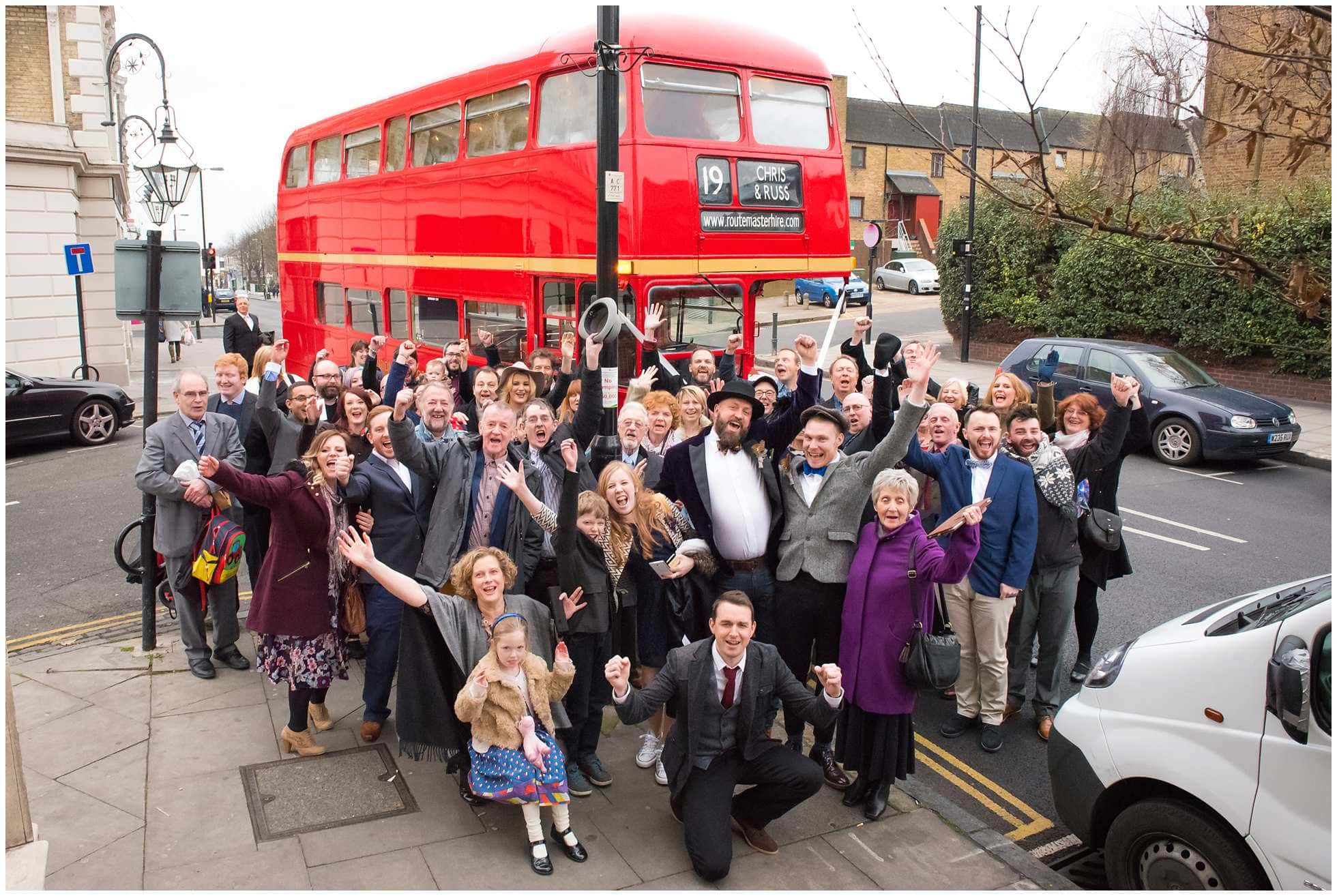 Routemaster bus outside st John's Tavern, Junction Road London wedding photography