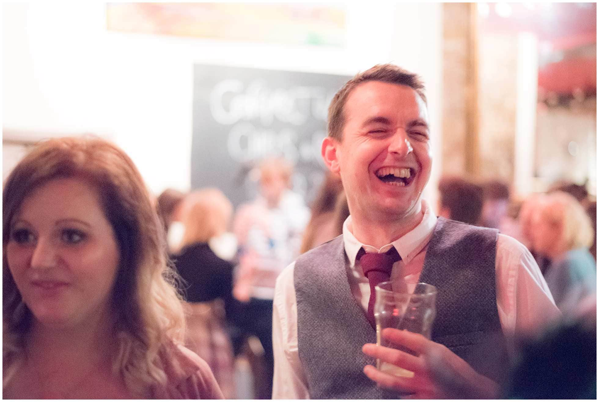 Laughter at a wedding at the Star Chester Road London