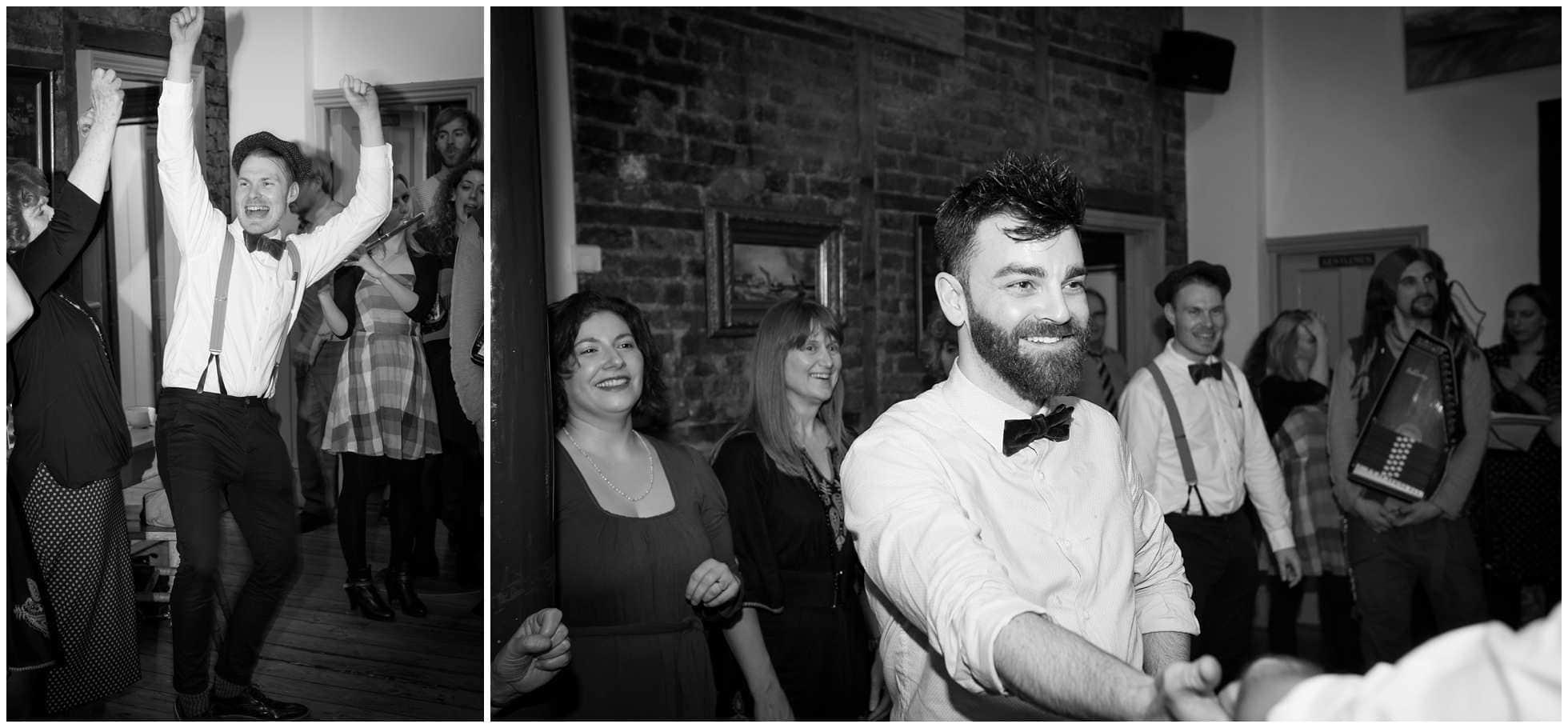 A joyous groom at a ceilidh