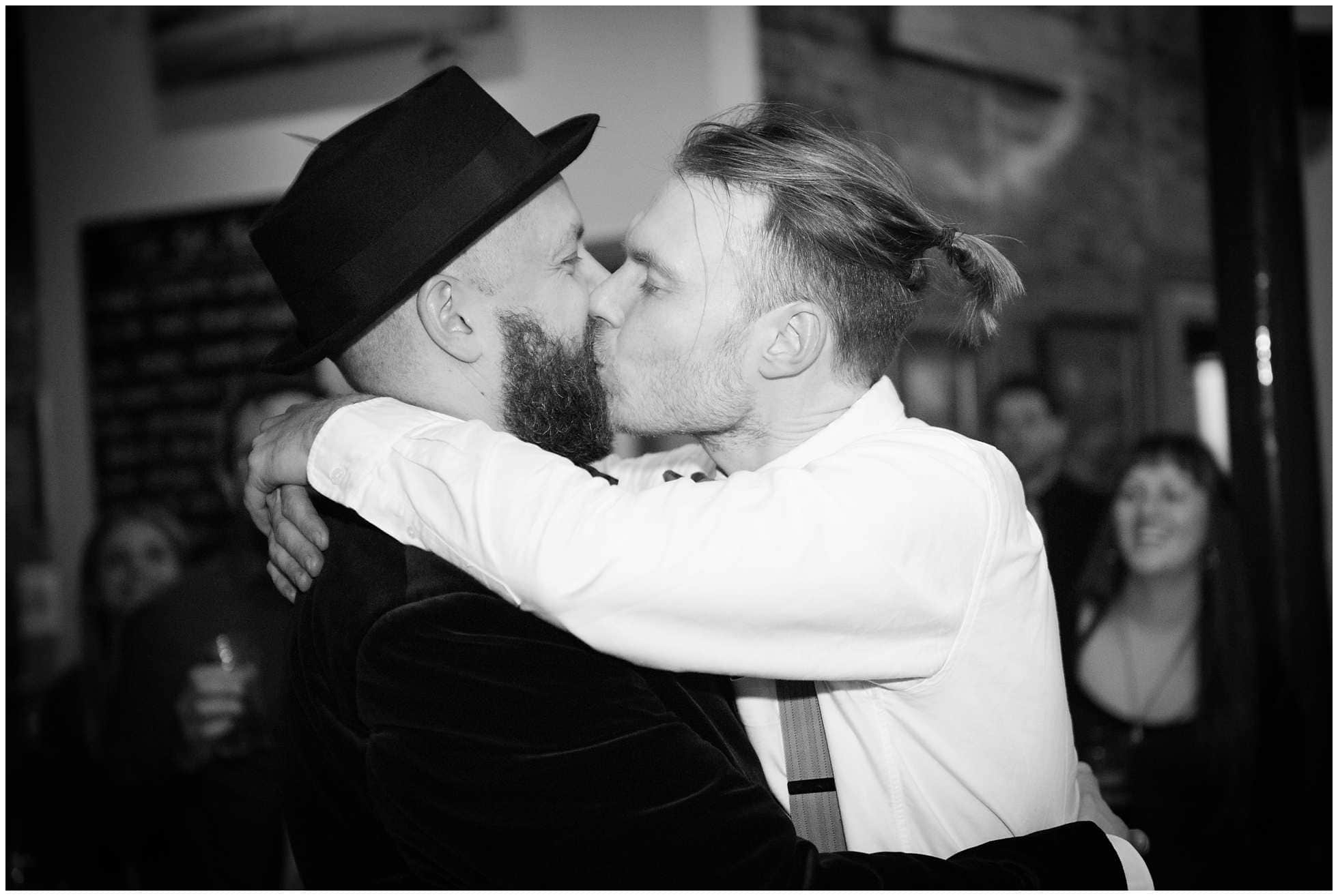 Gay couple celebrating their London marriage
