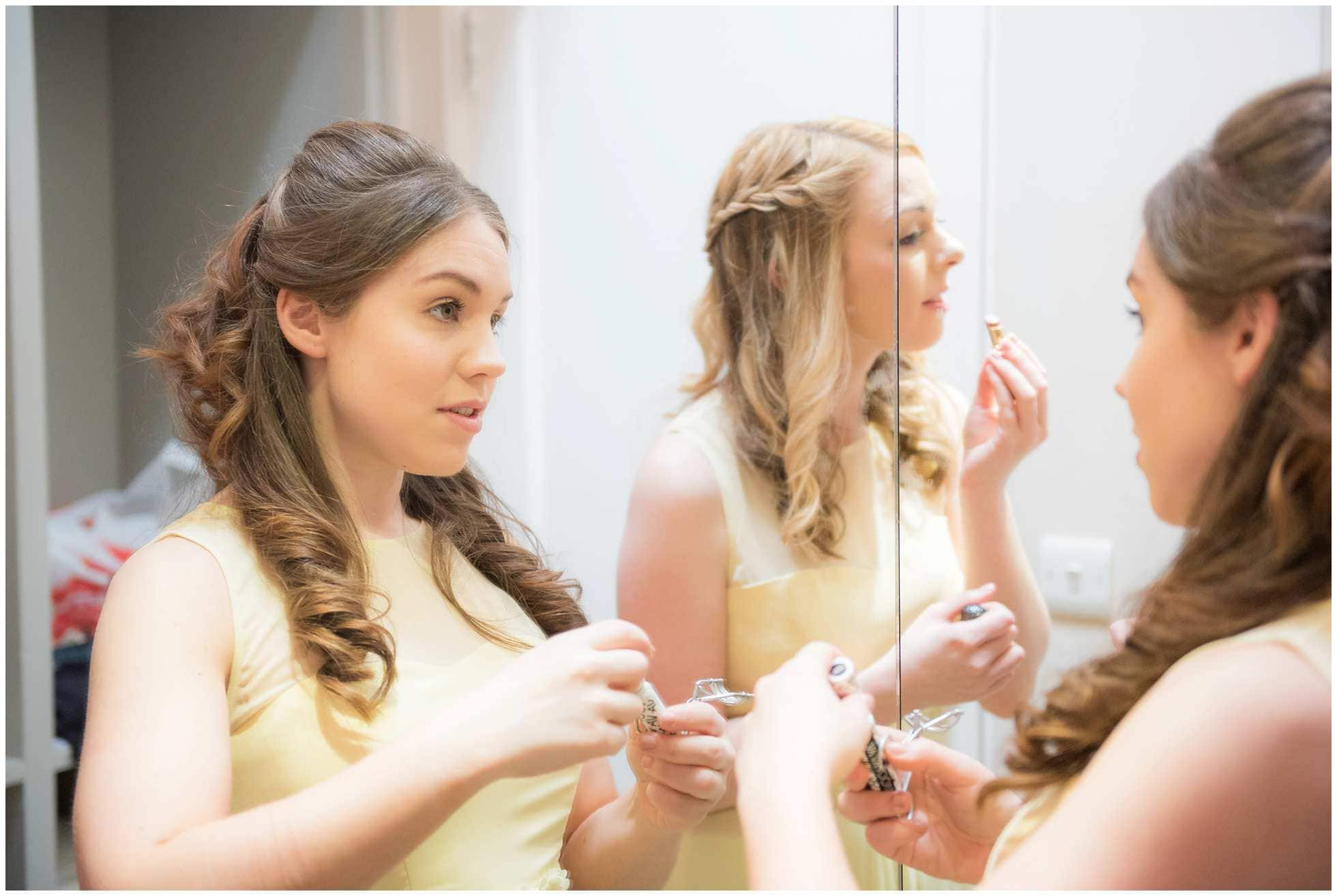 Beautiful bridesmaids getting ready