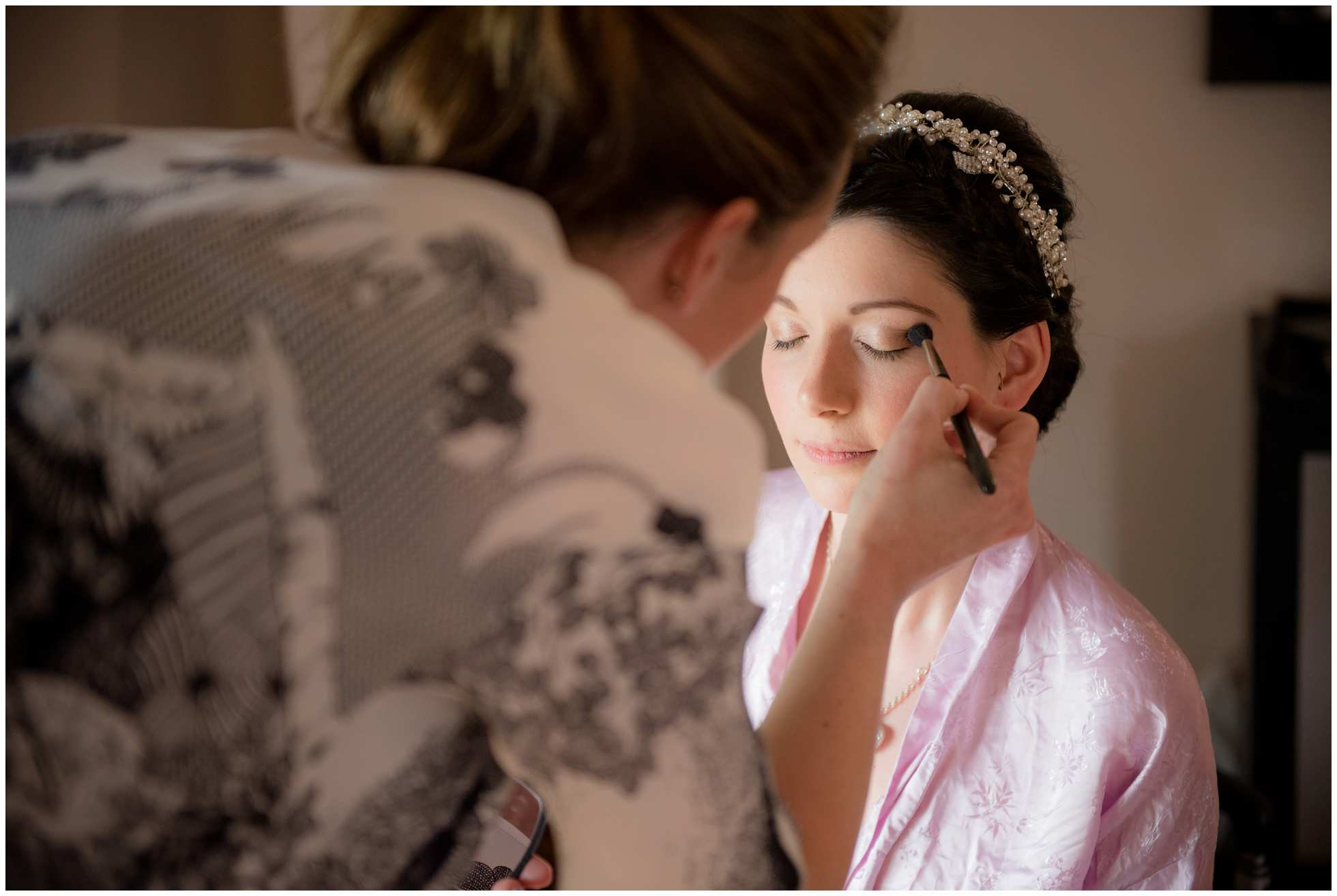Applying mascara trevena cornwall wedding