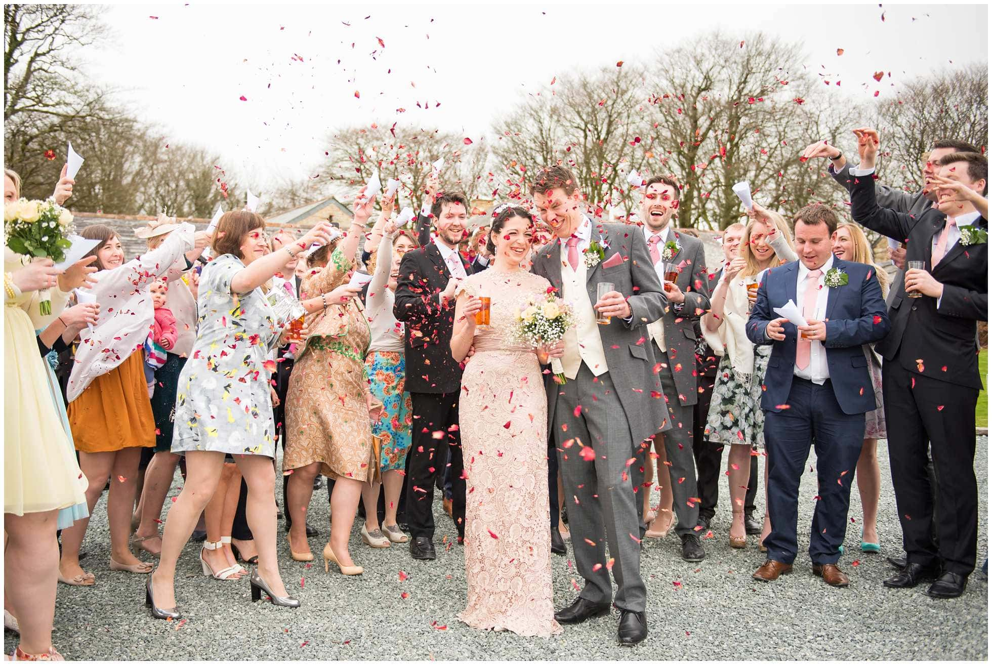 Confetti moment at Trevena Wedding Photography in Cornwall