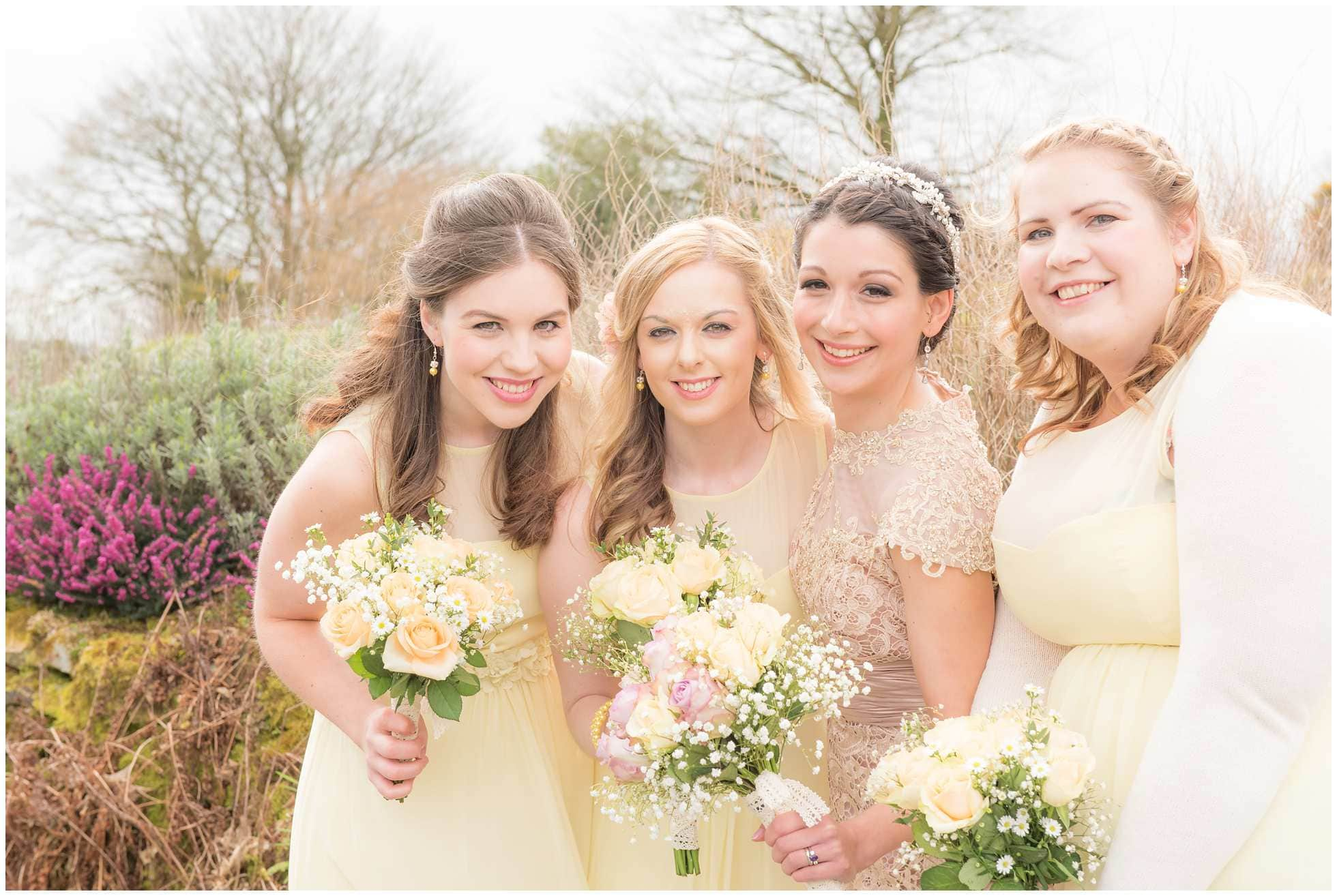 Bridesmaids in pale yellow in Cornwall