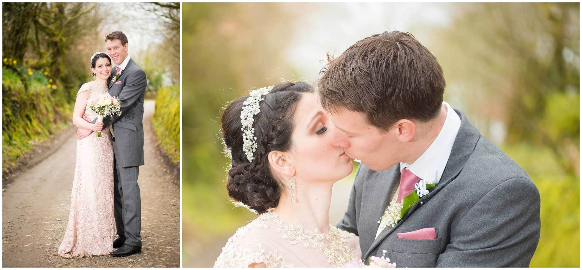 Close of kissing shot Bride and groom kissing Trevena Cornwall Wedding Photography