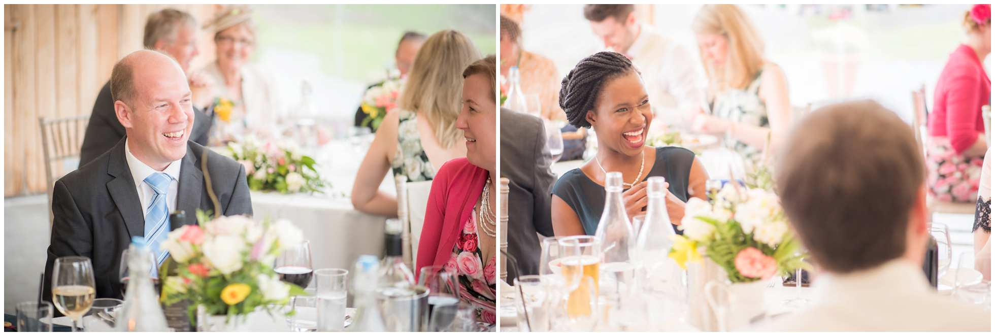 Guests laughing and enjoying their Cornish wedding