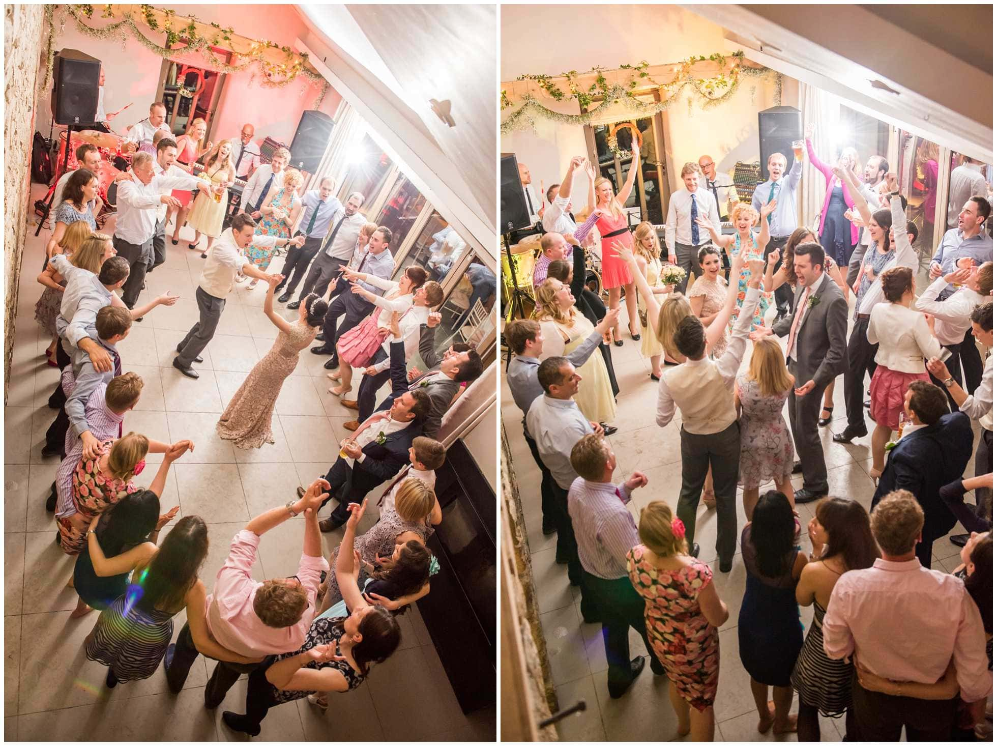 overhead shot of the wedding party dancing at Trevena Cornwall