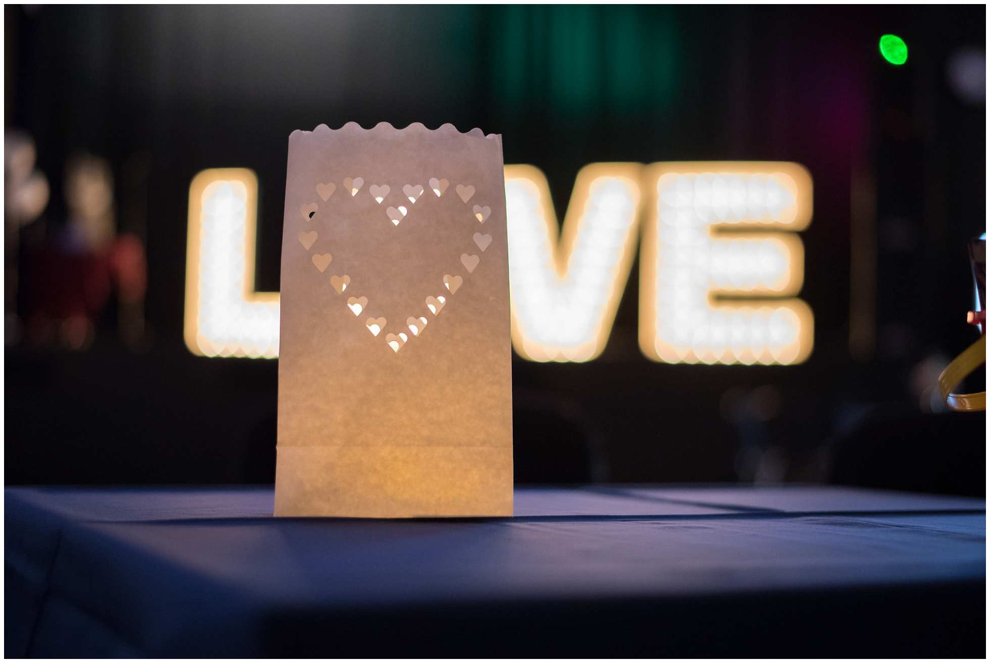Illuminated LOVE sign at a Beverley Wedding