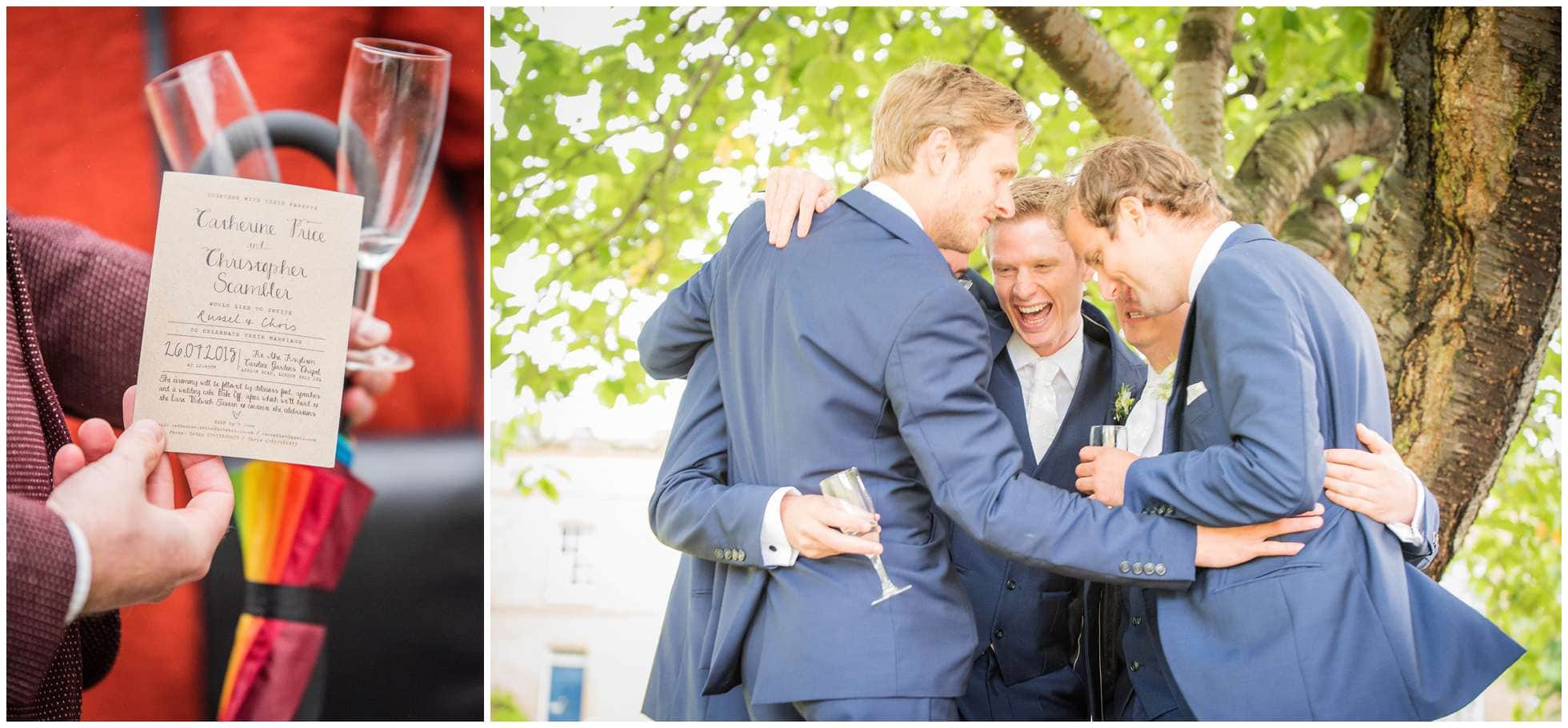 The groomsmen congratulate their best mate