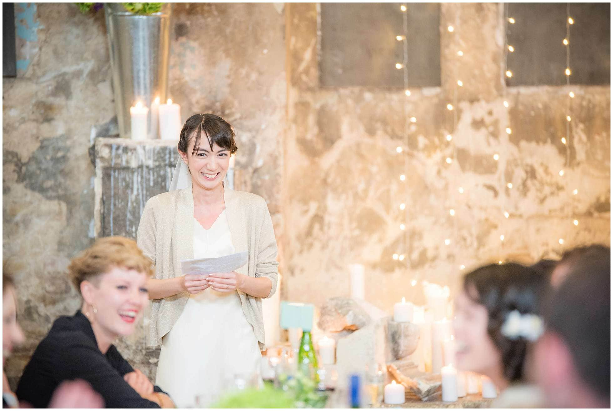 The beautiful bride gives a speech