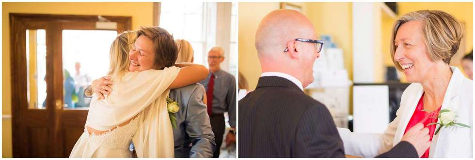 Greeting guests at this London wedding