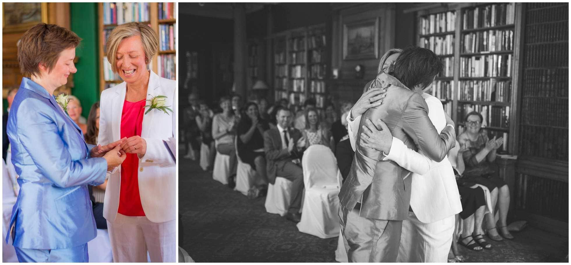 Hugging brides