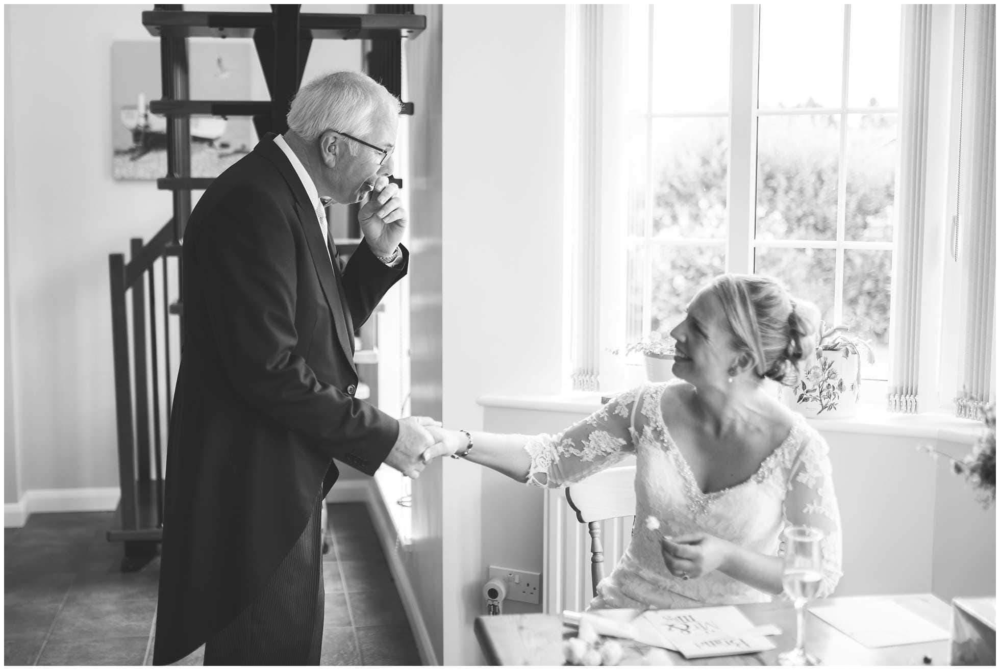 A teary father of the bride first look wedding photography lincolnshire