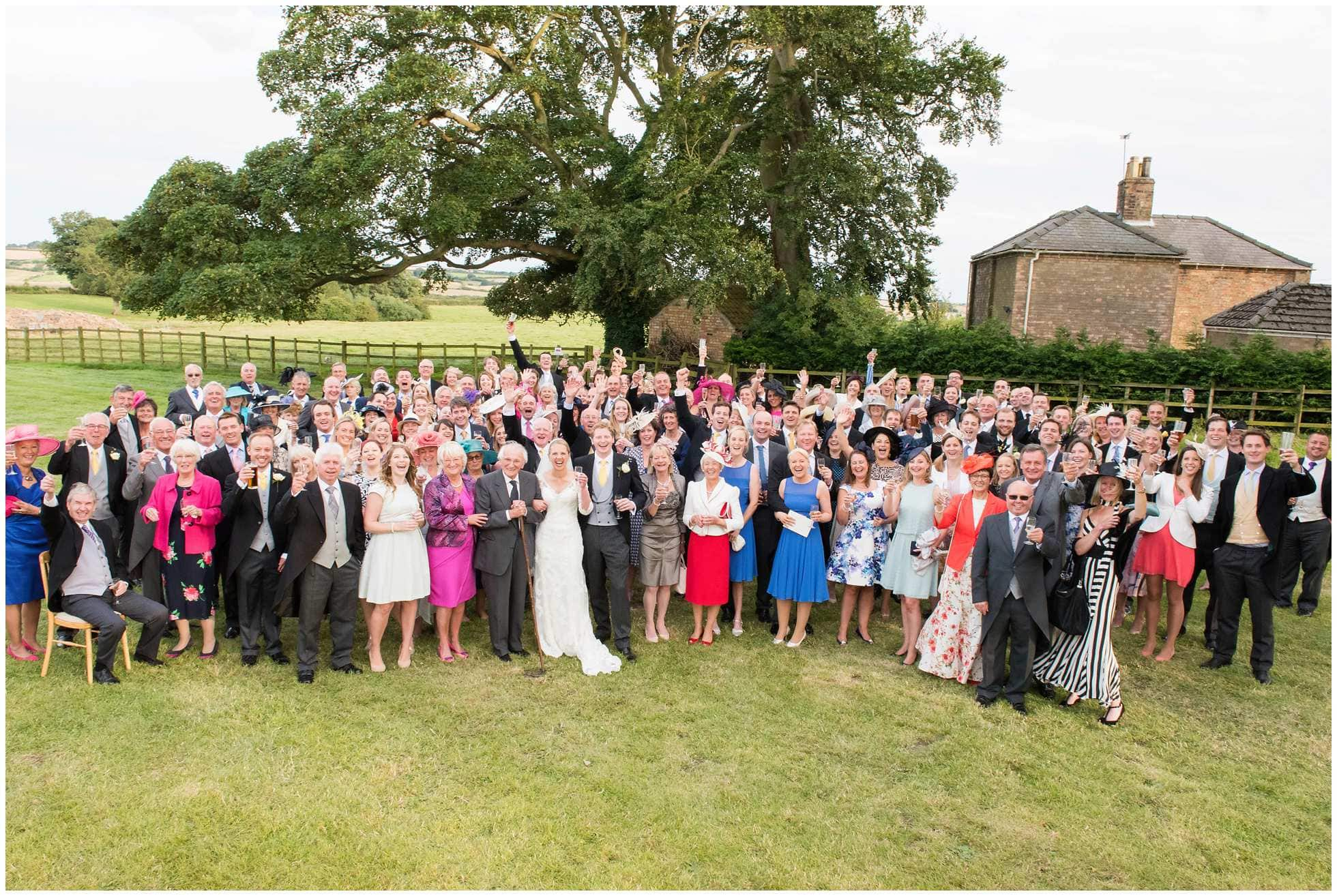 Massive group shot of wedding guests in Ranby Lincolnshire