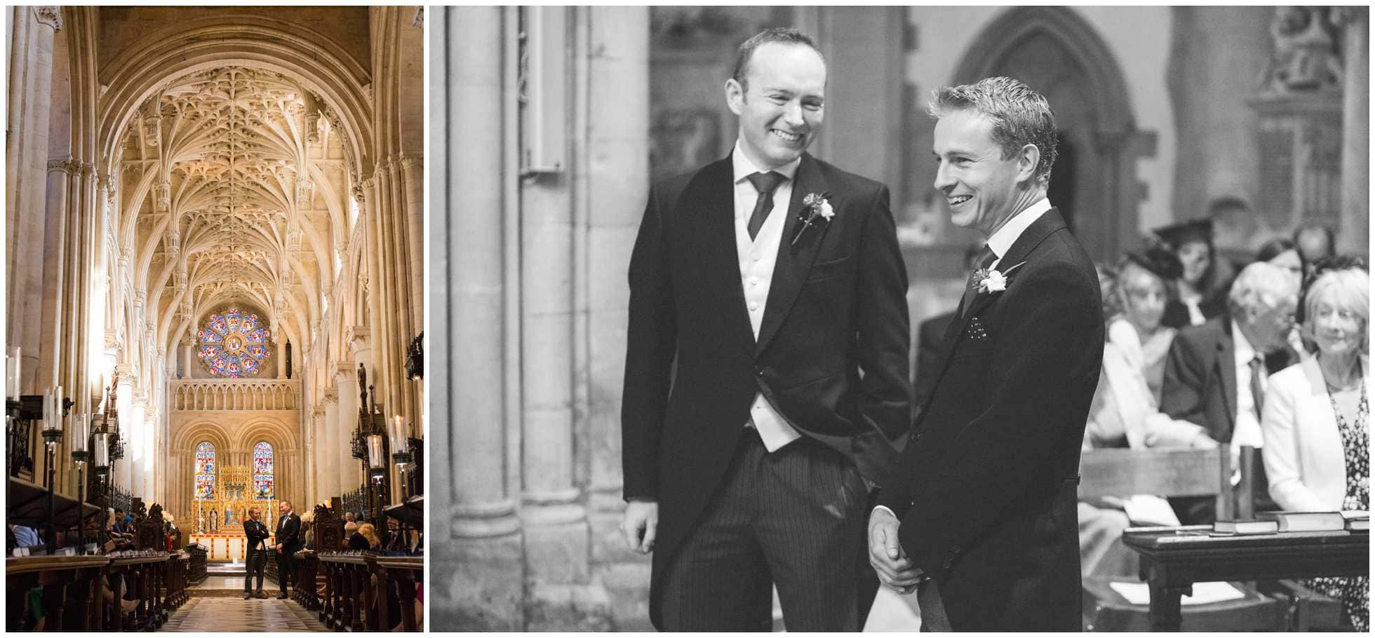 Groom and best man Christ Church College Cathedral Wedding