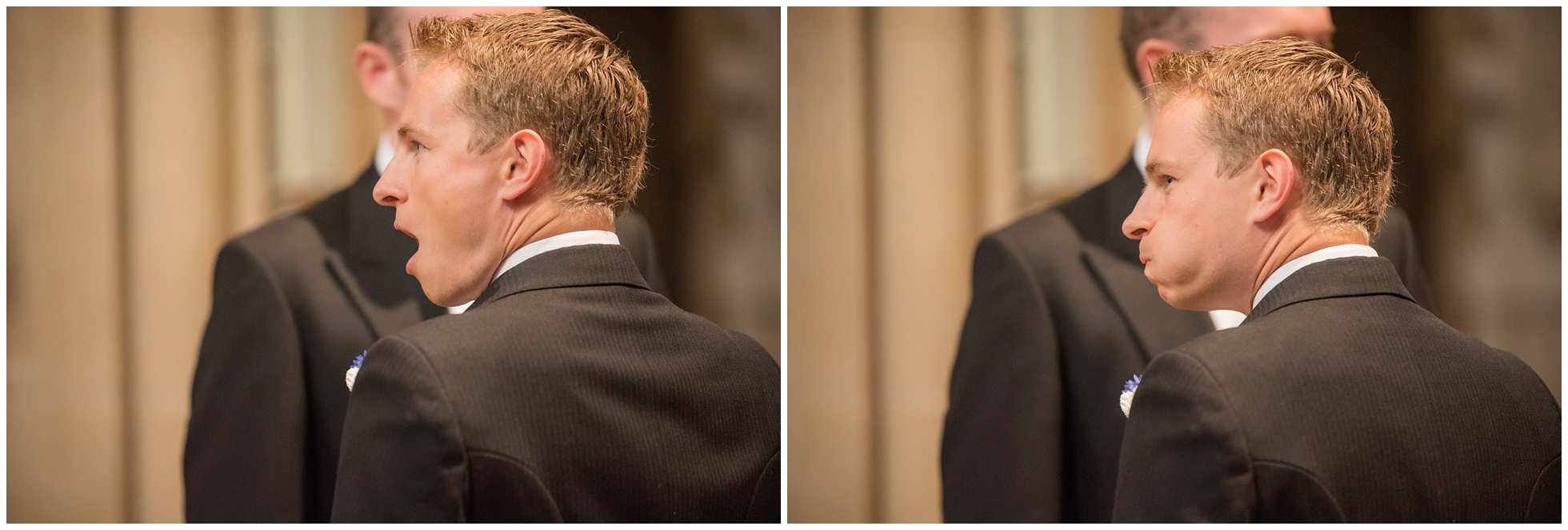 A nervous groom Christ Church College Cathedral Wedding