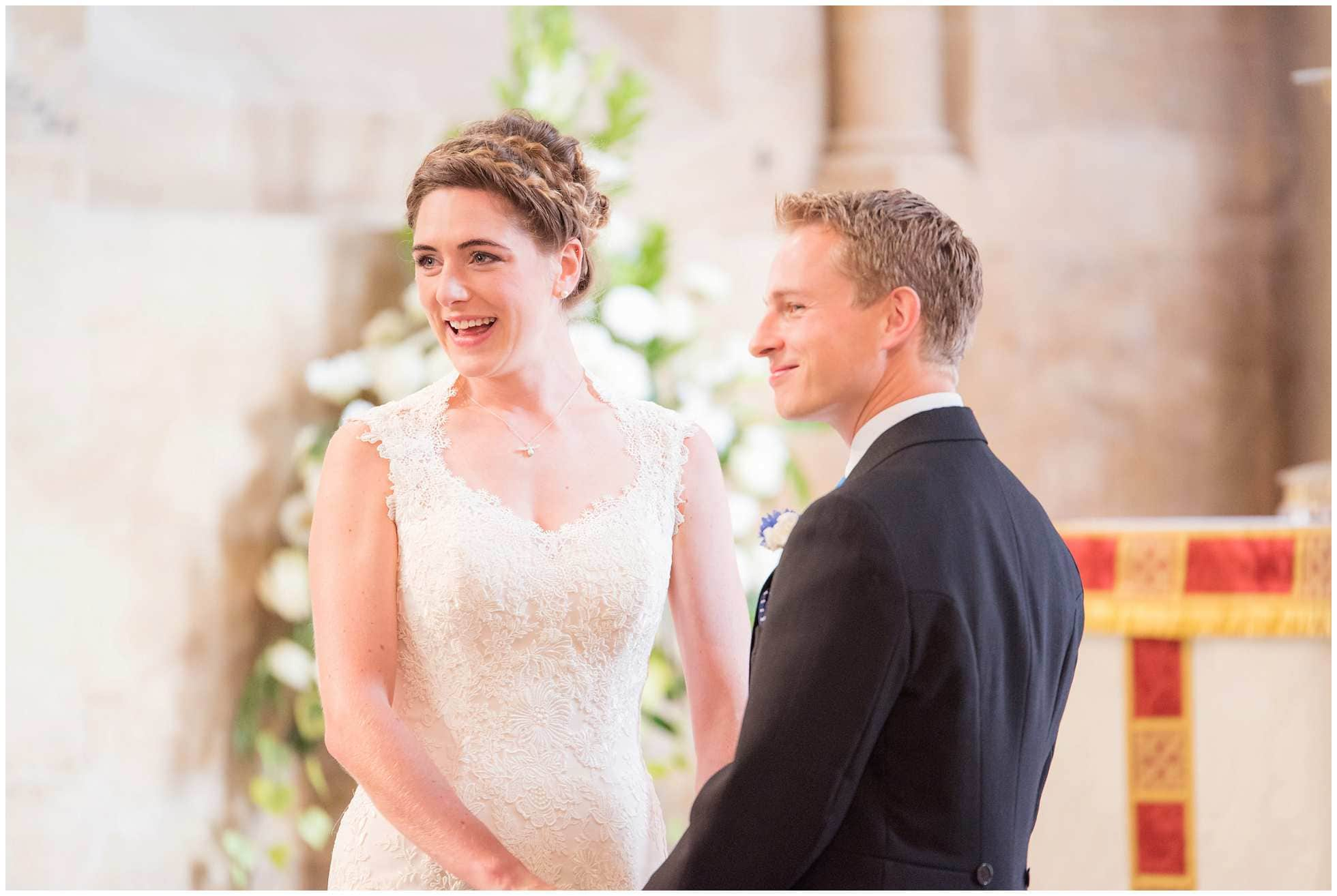A happy bride and groom at Christ Church College Cathedral Wedding